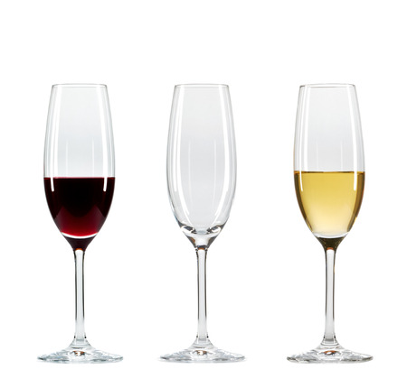 types of glasses: Set of three wine glasses with different types of wine