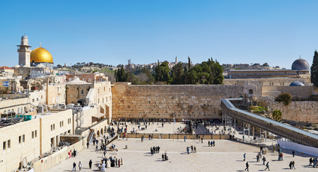Western Wall also known as Wailing Wall in Jerusalem 스톡 콘텐츠