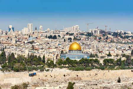 mount of olives: Jerusalem Old City view from Mount of Olives