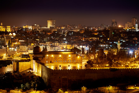 kotel: Al-Aqsa mosque in Jerusalem at Night Stock Photo