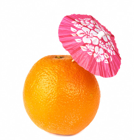 cocktail umbrella: Orange with drink cocktail umbrella isolated on white
