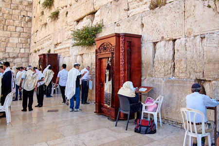 JERUSALEM, ISRAEL - JUNE 4, 2015: Western Wall also known as Wailing Wall or Kotel in Jerusalem. People from all over the world come to pray. Editorial