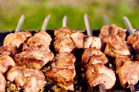brazier: Barbecue skewers with meat on the brazier Stock Photo