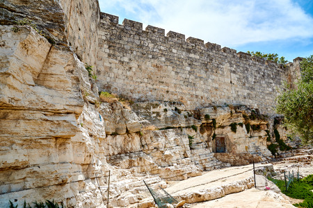The wall of the old city of Jerusalem, built in the 16th century