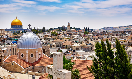 Jerusalem panoramic roof view to christians, jewish and muslims sacred places