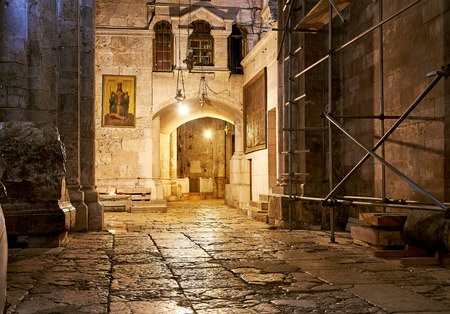 anoint: Church of the Holy Sepulchre in Jerusalem interior Stock Photo