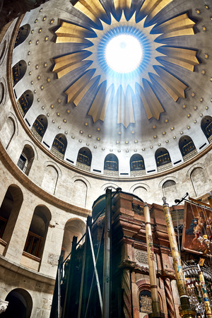 church: Jerusalem, Israel - June 06, 2015: The Holy Sepulchre Church in Jerusalem. The Holy Sepulchre Church is the most sacred place for all Christians in the world. Golgotha, Stone of Anointing, Jesus Grave
