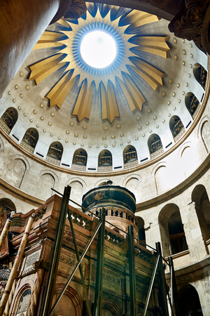 anoint: Jerusalem, Israel - June 06, 2015: The Holy Sepulchre Church in Jerusalem. The Holy Sepulchre Church is the most sacred place for all Christians in the world. Golgotha, Stone of Anointing, Jesus Grave