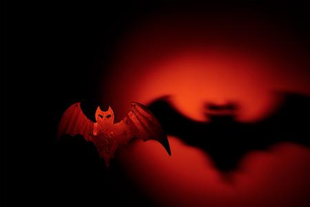 Halloween handmade pumpkin with terrible shadow