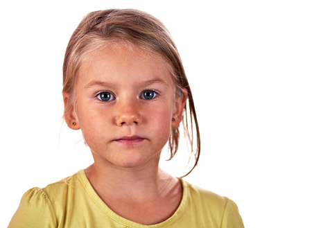 grimace: Little girl portrait grimace over white background