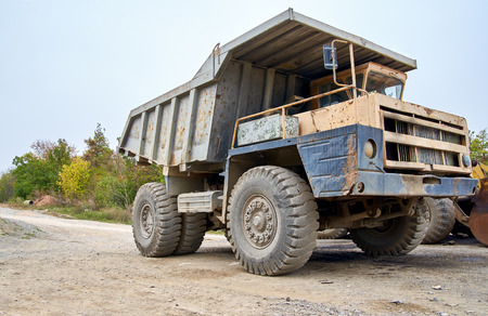 Haul dump truck close up