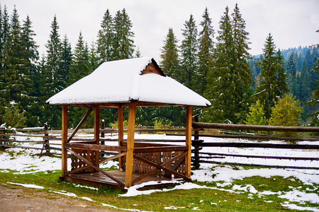 summerhouse: Snow pavilion alcove summerhouse in winter forest