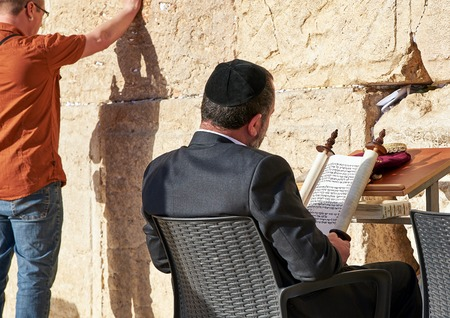 kotel: JERUSALEM, ISRAEL - MAY 1, 2015: Western Wall also known as Wailing Wall or Kotel in Jerusalem. People from all over the world come to pray. Its sacred place for all Jewish Jews and Christians.