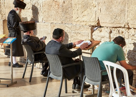jews: JERUSALEM, ISRAEL - MAY 1, 2015: Western Wall also known as Wailing Wall or Kotel in Jerusalem. People from all over the world come to pray. Its sacred place for all Jewish Jews and Christians.