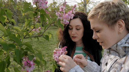 Two pretty girls or young women sniffing smelling at lilac flowers in the green park in spring. Togetherness and friendship positive springtime concept.