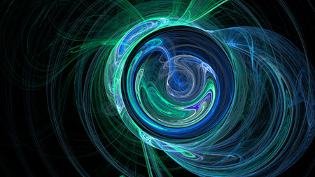 Blue and green curves and circles abstract background for creative design Stock Photo