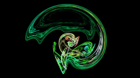 Green helmet or brain abstract background 3D