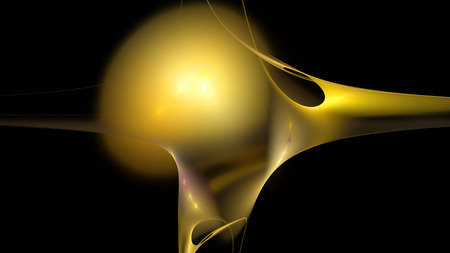 Fire yellow curves and ball figure abstract background 3D