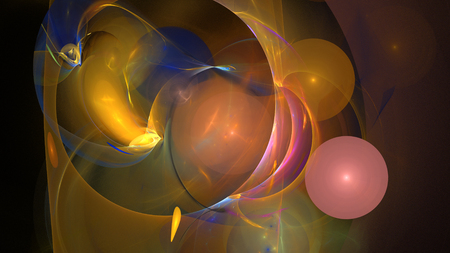 Colorful curves and balls abstract background 3D