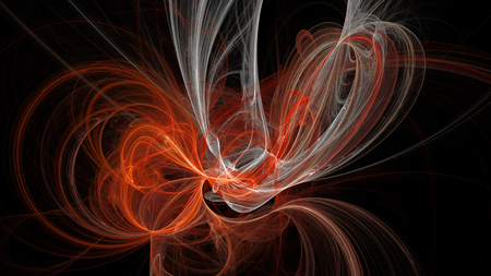 Colorful curves and waves abstract background 3D