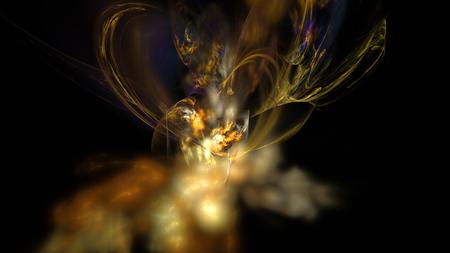 Yellow nebula and smoke background in dark Stock Photo