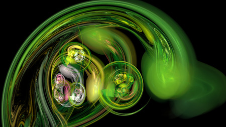 Green curves and waves abstract background in dark