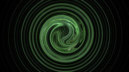 Green spiral abstract background on dark black