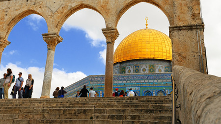 Jerusalem, Israel - May 21, 2017: Dome of the Rock in Jerusalem over the Temple Mount. Golden Dome is the most known mosque and landmark in Jerusalem and sacred place for all muslims. Publikacyjne