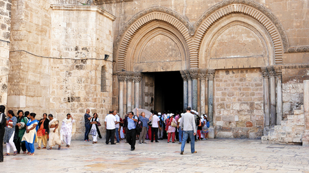 Jerusalem, Israel - May 25, 2017: Entrance of the Holy Sepulcher Church in Jerusalem. The Holy Sepulchre Church and Empty Tomb the most sacred places for all religious Christians in the world.