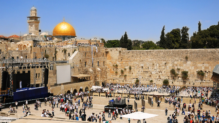 kippah: Western Wall in Jerusalem also known as Wailing Wall or Kotel in Jerusalem. The Western Wall is sacred place for all jewish an christians in the world. People come to pray and put notes to the wall.