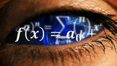 Zoom into eye iris to math equations mess and formulas flying and disappearing in distance. Science and mathematical research and development concept.
