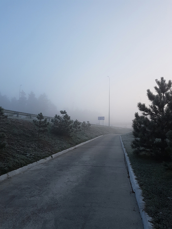 Foggy winter road with poor visibility