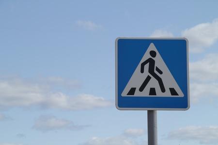 paso de cebra: se�al de tr�fico de peatones Foto de archivo