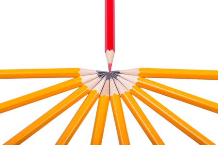 sharpened: Red sharpened pencil among non sharpened yellow isolated