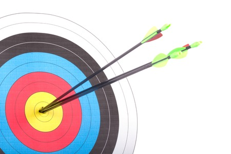 archery target: Arrow hit goal ring in archery target isolated Stock Photo