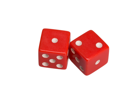Two dice showing one and two