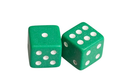 Two dice showing one and six. Stock Photo