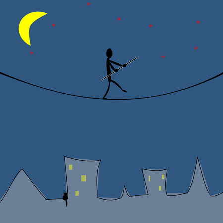 Man walking on the rope