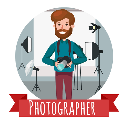 a meeting with a view to marriage: photographer character web icon with cameras and photo studio background