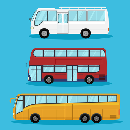 decker: City transport flat illustrations. Urban life concept. on blue background.double decker red bus