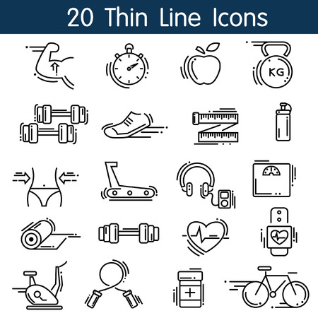 Thin Line Sport icons set