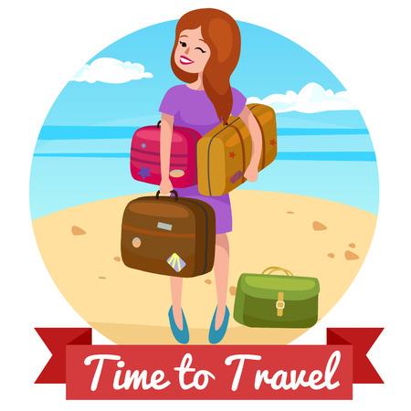 travel illustration. travel bag.traveling people vacation Illustration