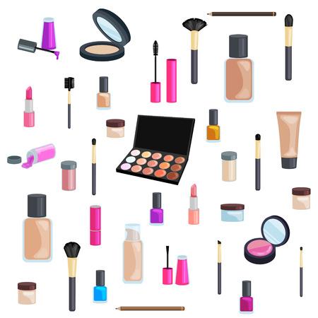 lip gloss: Sets of cosmetics on isolated background. Nail polish, mascara, lipstick, eye shadows, brush, powder, lip gloss.