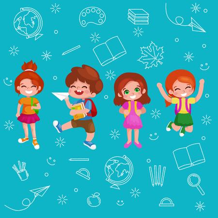 schoolkids: Back to school.Cute School Children.