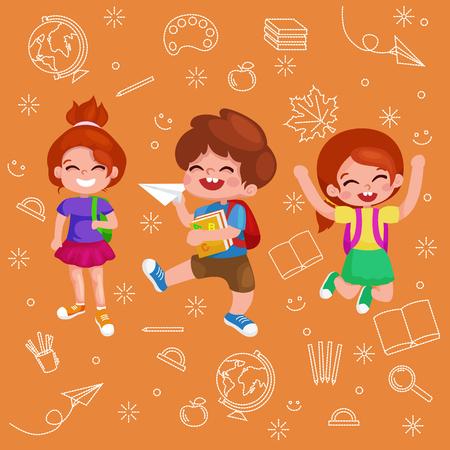 art back: Back to school. Cute School Children.illustration of kids going to school
