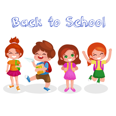 Cute School Children. Back to school. Vector illustration isolated on white background.