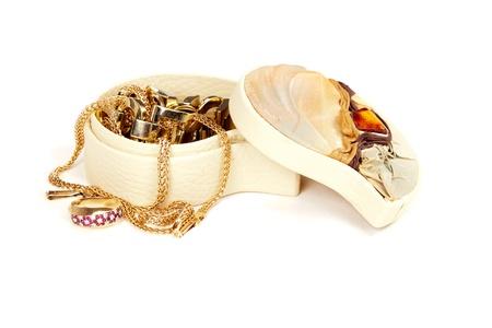 Jewellery box isolated on white photo