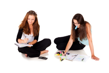 Two students are solving their homeworkNOTE: Isolation with shadows! Stock Photo - 10973794