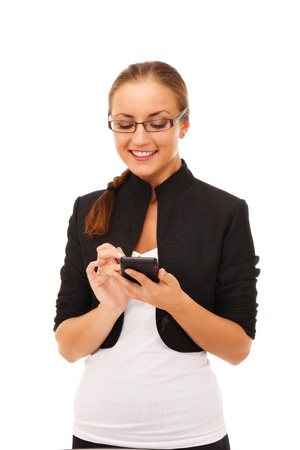 Girl with smartphone on isolated white background