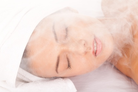 steam: This sauna is full of steam. Stock Photo